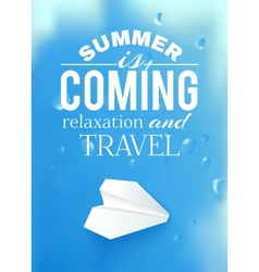 Summer sky with airplane and text lettering vector image vector image
