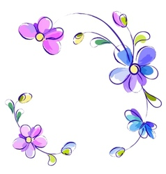 White background with flowers vector image vector image