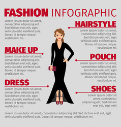woman in evening dress fashion infographic vector image vector image