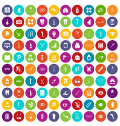 100 pharmacy icons set color vector
