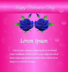 Happy valentine day with blue rose on pink vector