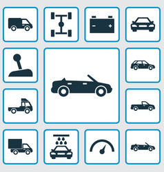 Automobile icons set collection of chronometer vector