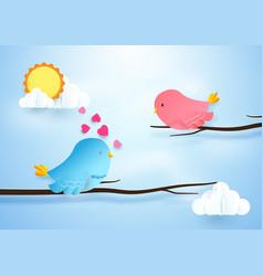 Cute bird couple on branches love concept paper vector