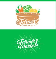 Set of farmers market hand written lettering logos vector