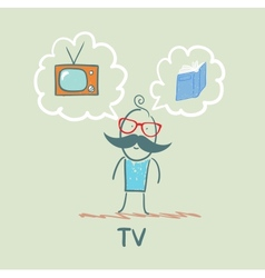 one thinks of the TV and book vector image