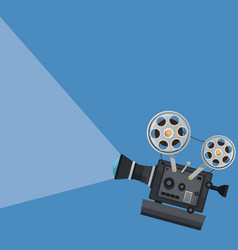 Color background with movie projector vector