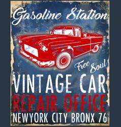 Old american car vintage classic retro man t vector