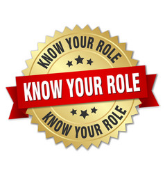 Know your role round isolated gold badge vector