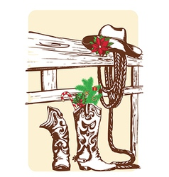 Christmas cowboy elements for holiday vector image
