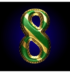 Golden and green letter 8 vector