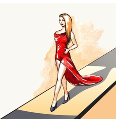 Woman on the runway vector