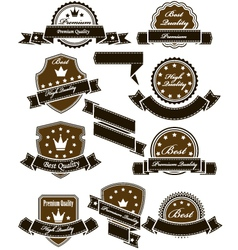 Vintage seals and medals with ribbons vector