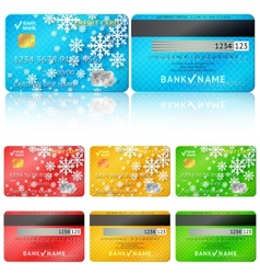 Set of realistic credit card two sides vector