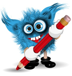 Monster with Pencil vector image