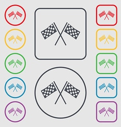 Race flag finish icon sign symbols on the round vector