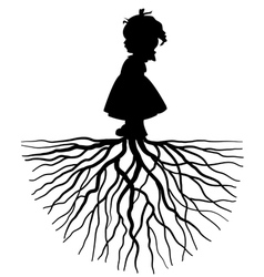 Silhouette of a girl with root vector