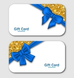 Gift cards with blue bow ribbon and golden vector