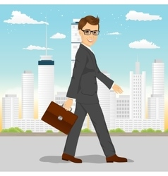 businessman walking through the city vector image