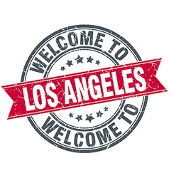 Welcome to los angeles red round vintage stamp vector
