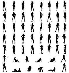 Silhouettes of girls vector