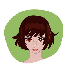 Anime girl with brown bob hair portrait vector