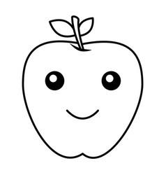 apple fresh fruit kawaii character vector image