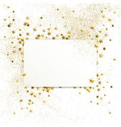 Banner with confetti of gold stars and sparkles vector