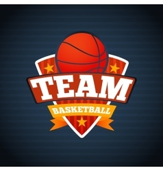 Basketball team logo template with ball stars and vector image vector image