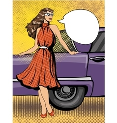 Beautiful woman in dress stay next to car Comic vector image vector image