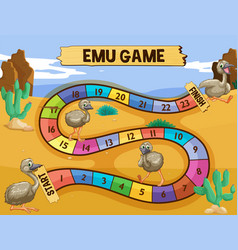 boardgame template with emu in the field vector image vector image