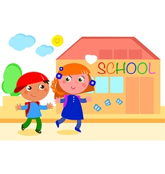 Boy and girl going to school vector image vector image