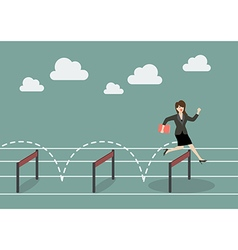 Business woman jumping over hurdle vector