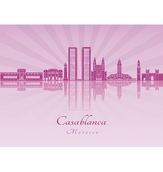Casablanca skyline in purple radiant orchid vector