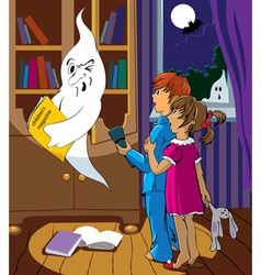 children and a ghost vector image