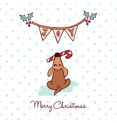 christmas cute puppy dog cartoon greeting card vector image vector image
