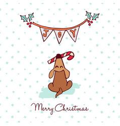Christmas cute puppy dog cartoon greeting card vector