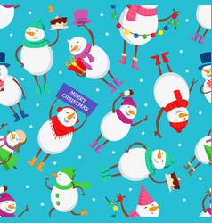 christmas seamless pattern with funny characters vector image vector image