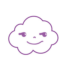Color line rogue and cute cloud kawaii weather vector