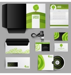 Corporate identity eco design with green tree vector