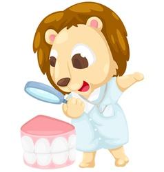 Dentist lion vector image