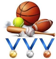Different kind of sport equipments and medals vector image vector image