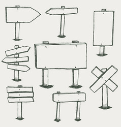 doodle wood signs and direction arrows vector image