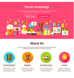 Easter greeting website design vector