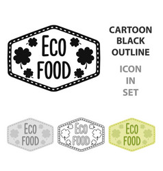 eco-food icon in cartoon style isolated on white vector image