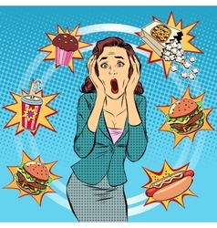 Fast food woman unhealthy diet panic vector