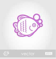 Fish outline icon summer vacation vector