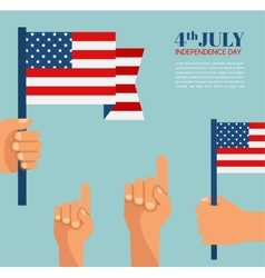 Hand holding the United States of America flag - vector image