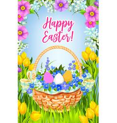 Happy easter greeting card basket flowers vector