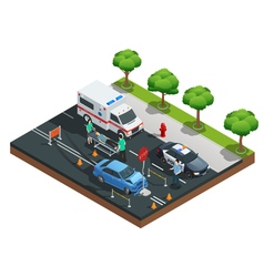 Isometric car accidents composition vector