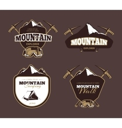 Mountain exploration retro emblems labels vector image